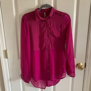 Free People Fuchsia Chiffon Long Sleeve Blouse